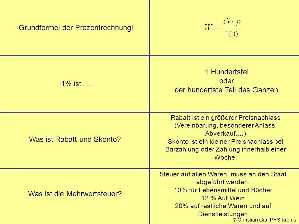 Grundformel der Prozentrechnung!