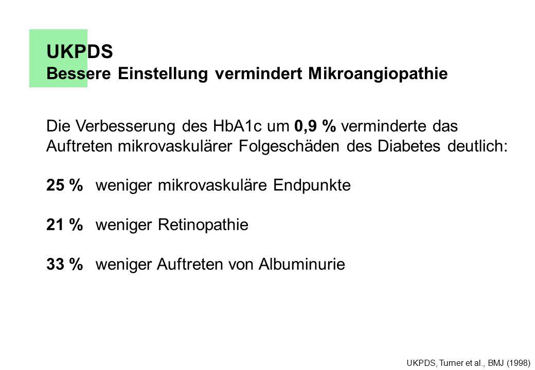 UKPDS Bessere Einstellung vermindert Mikroangiopathie