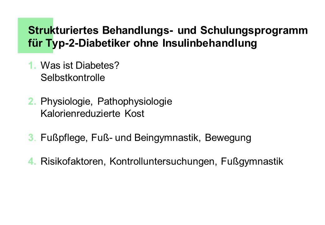 Strukturiertes Behandlungs- und Schulungsprogramm für Typ-2-Diabetiker ohne Insulinbehandlung