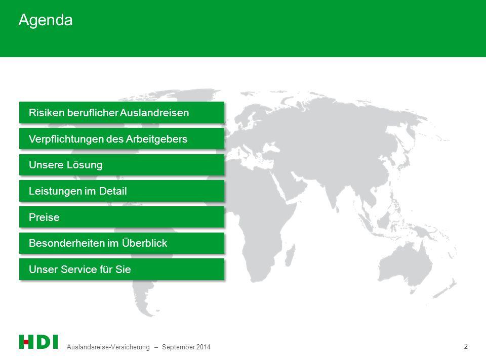 Agenda Risiken beruflicher Auslandreisen