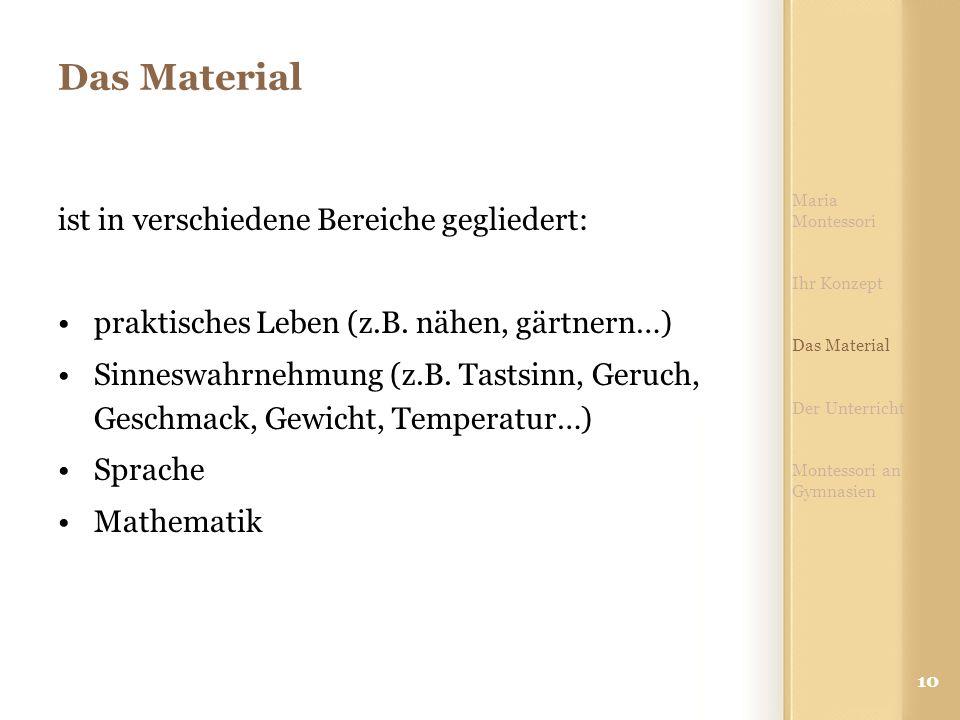 Das Material ist in verschiedene Bereiche gegliedert: