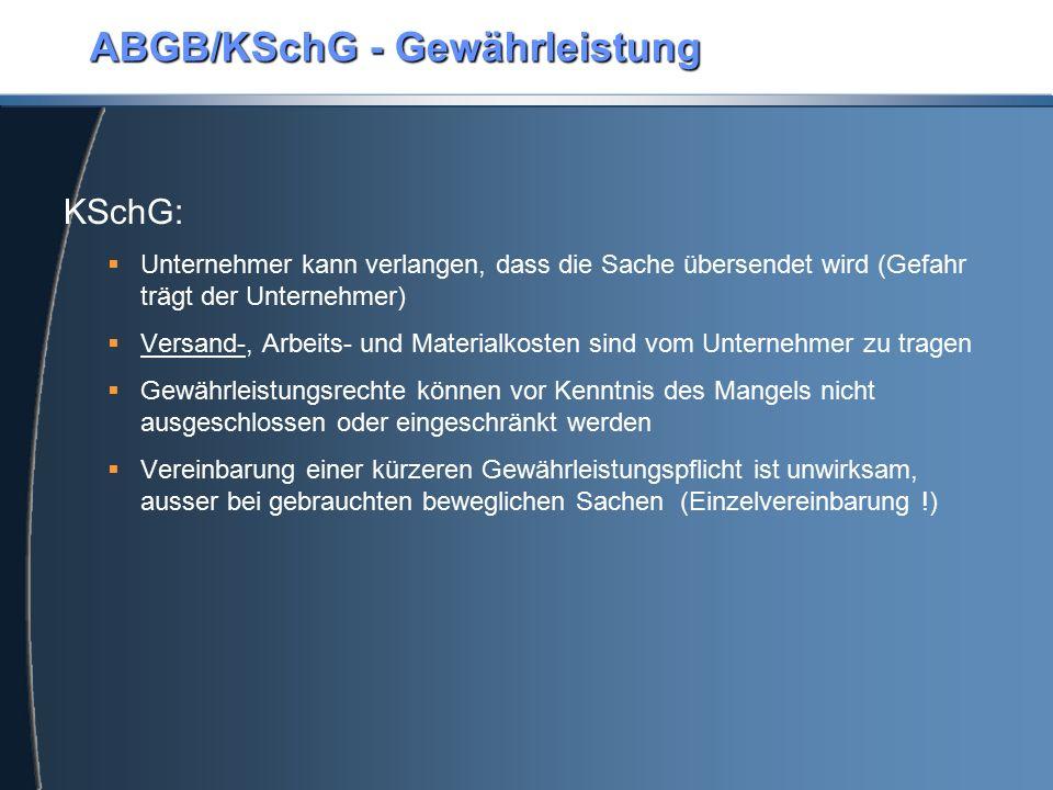 ABGB/KSchG - Gewährleistung
