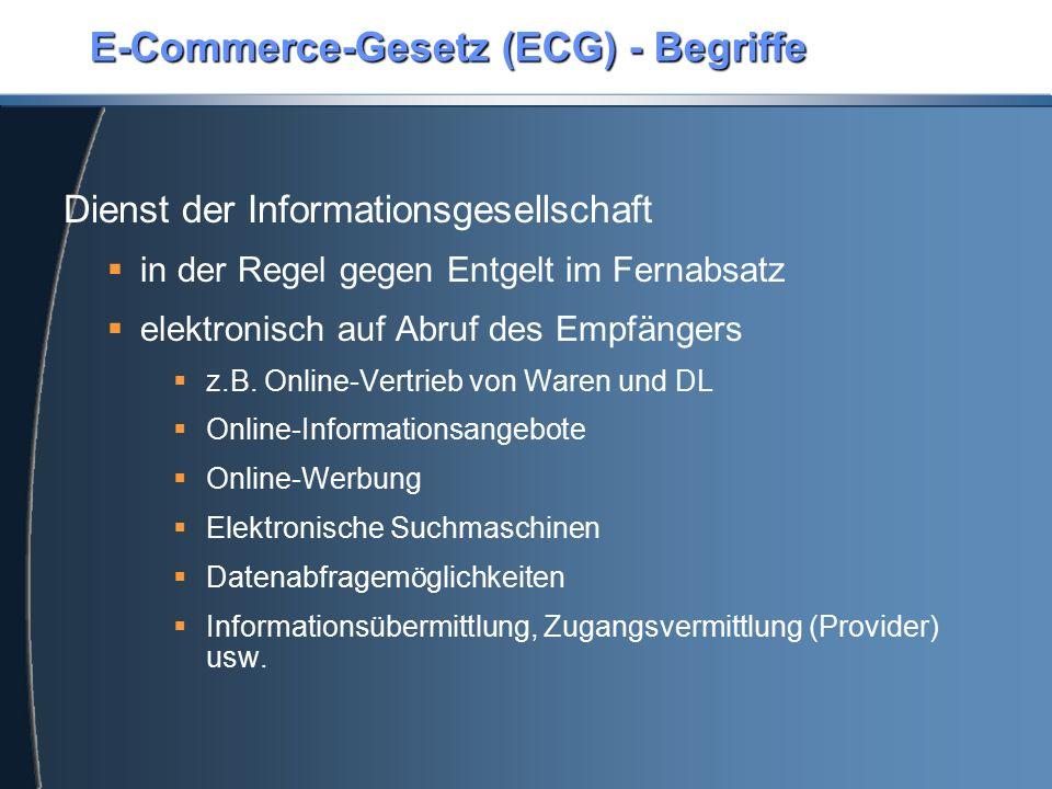 E-Commerce-Gesetz (ECG) - Begriffe