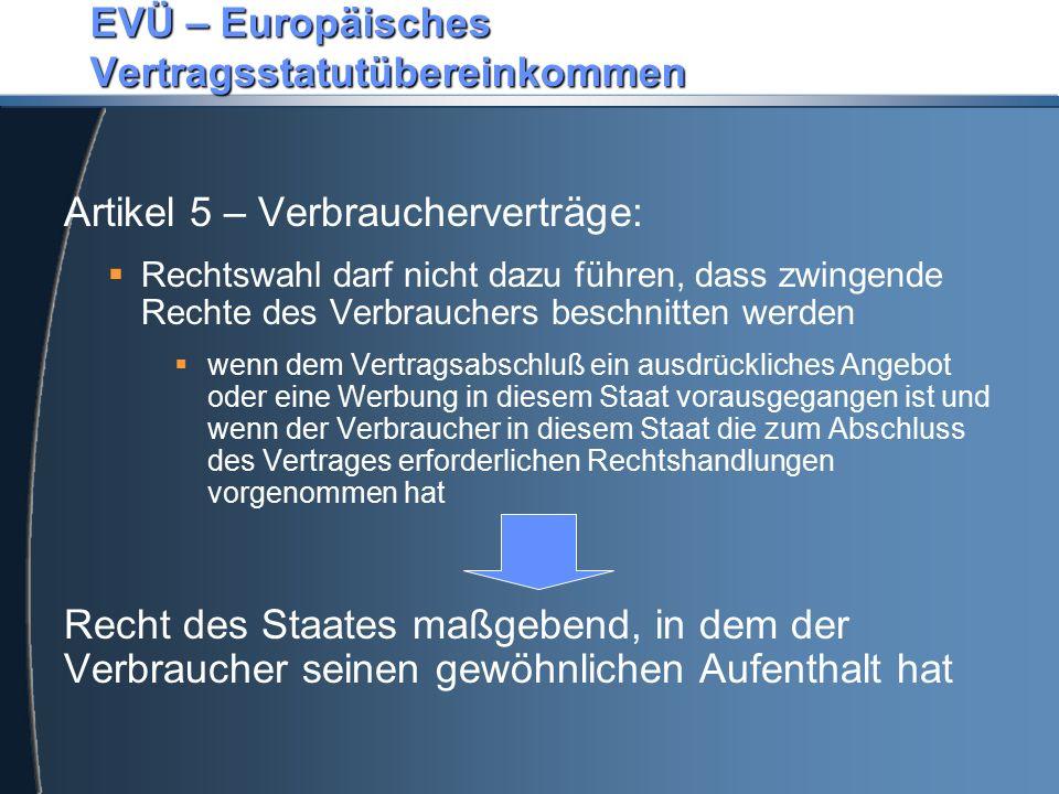 EVÜ – Europäisches Vertragsstatutübereinkommen