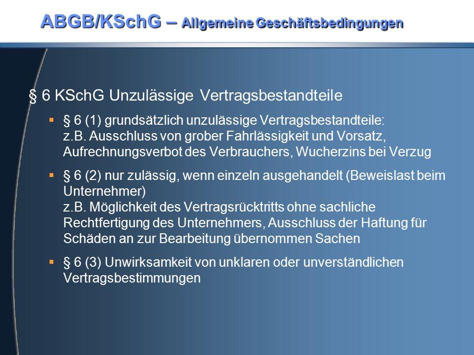 ABGB/KSchG – Allgemeine Geschäftsbedingungen