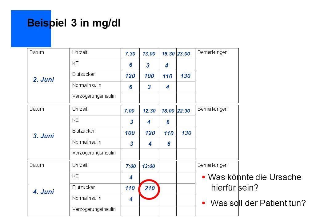 Beispiel 3 in mg/dl Was könnte die Ursache hierfür sein