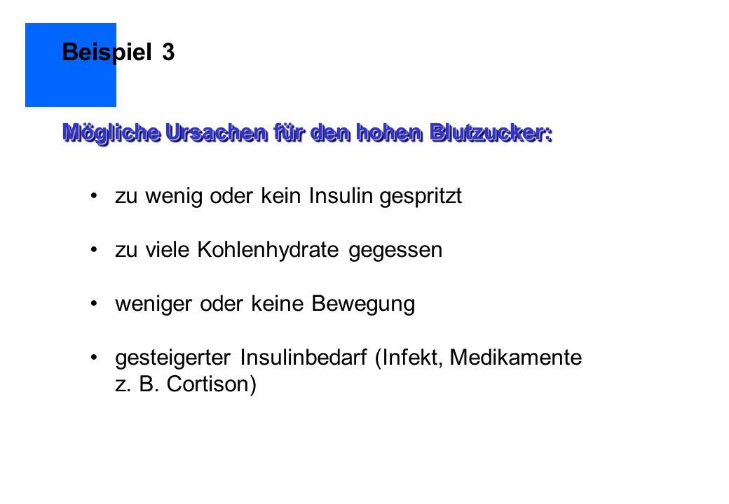 Beispiel 3 Mögliche Ursachen für den hohen Blutzucker: