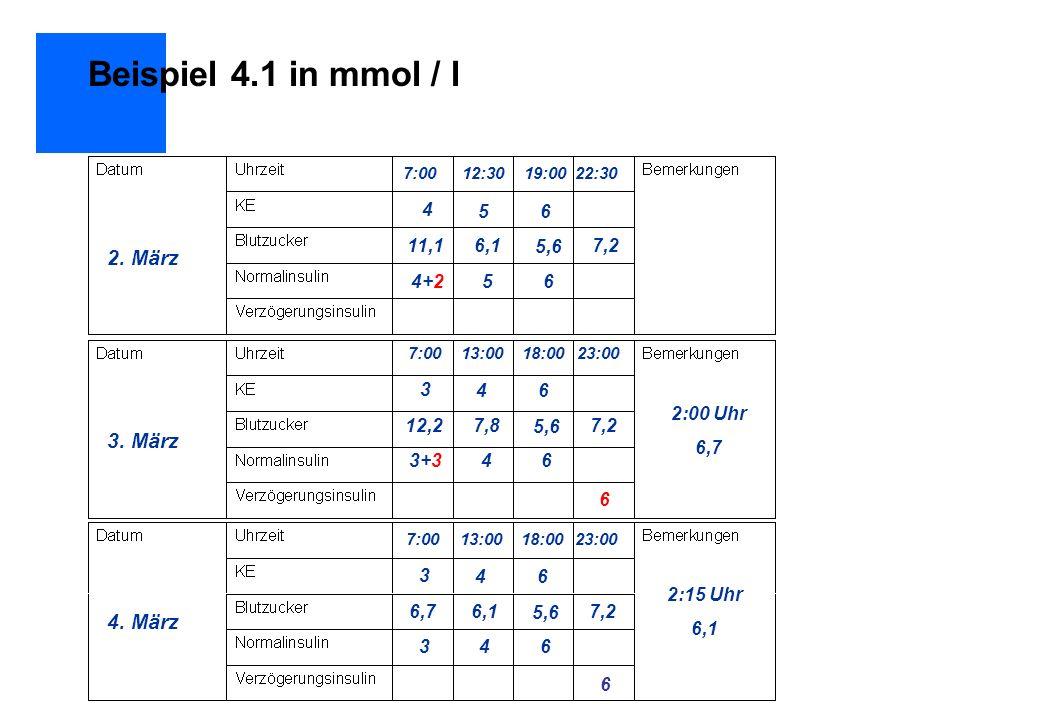 Beispiel 4.1 in mmol / l 2. März 3. März 4. März 4 5 6 11,1 6,1 5,6