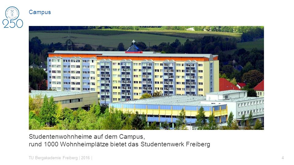 Campus Studentenwerk Freiberg – bietet Wohnheime auf dem Campus, bewirtschaftet die Neue Mensa.