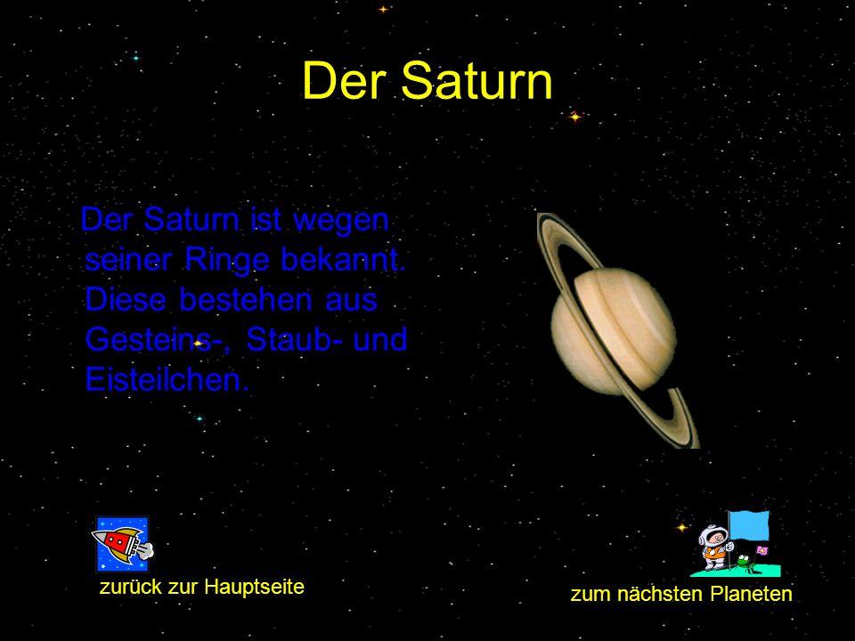 Der Saturn Der Saturn ist wegen seiner Ringe bekannt. Diese bestehen aus Gesteins-, Staub- und Eisteilchen.