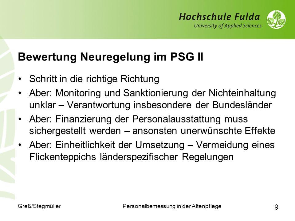 Bewertung Neuregelung im PSG II