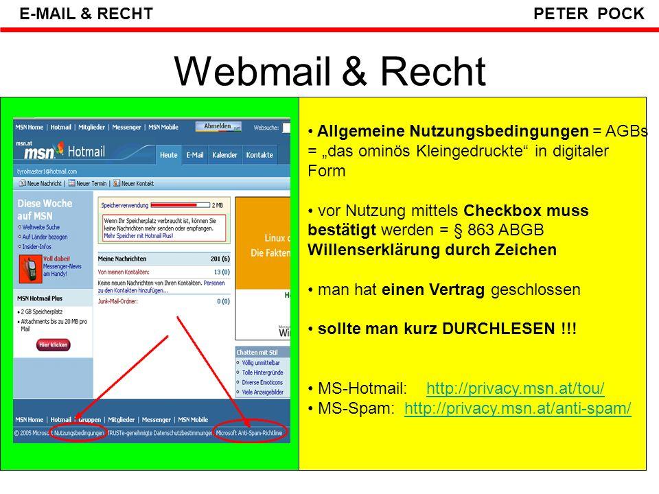 Webmail & Recht E-MAIL & RECHT PETER POCK