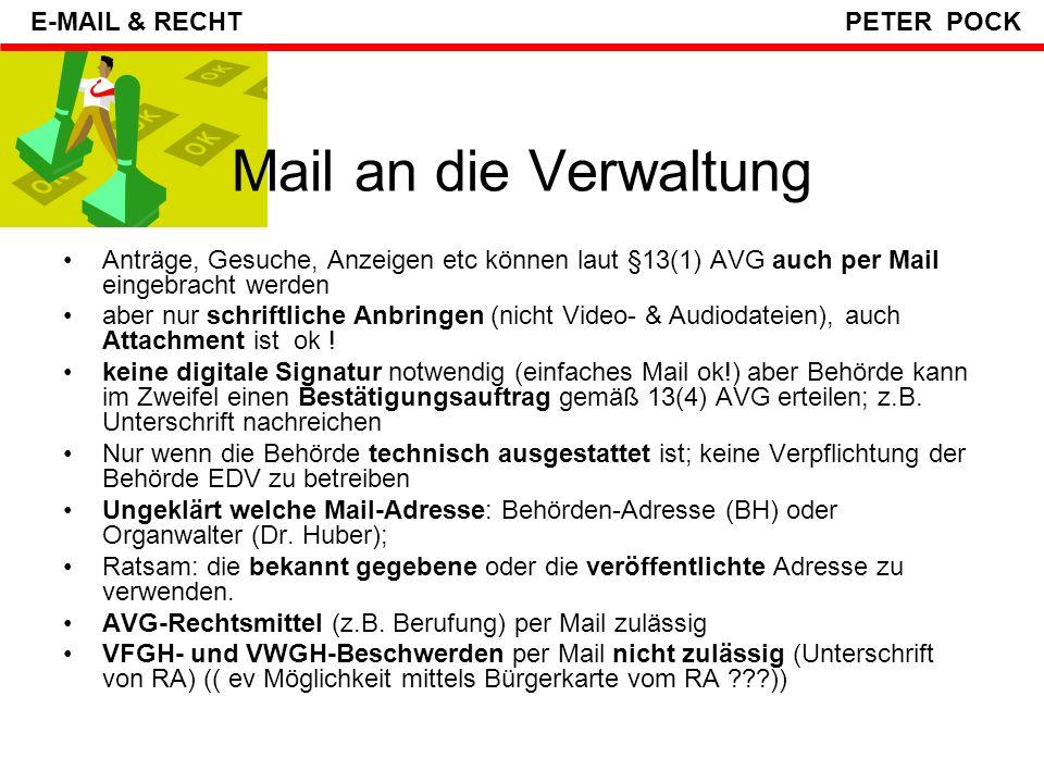 Mail an die Verwaltung E-MAIL & RECHT PETER POCK