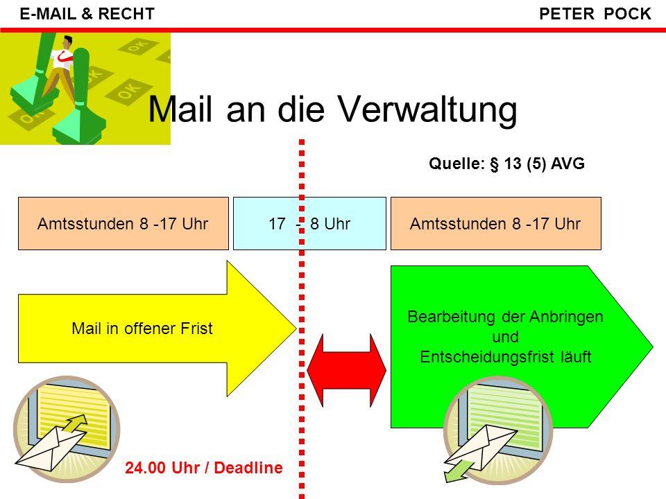 Mail an die Verwaltung E-MAIL & RECHT PETER POCK Quelle: § 13 (5) AVG