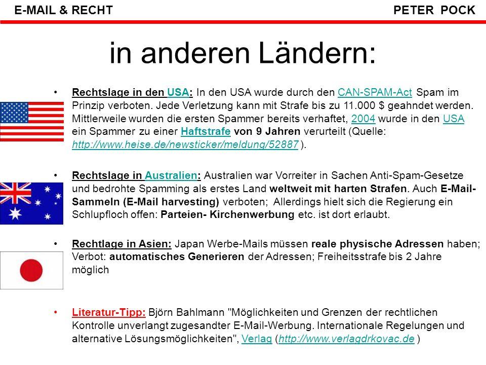 in anderen Ländern: E-MAIL & RECHT PETER POCK