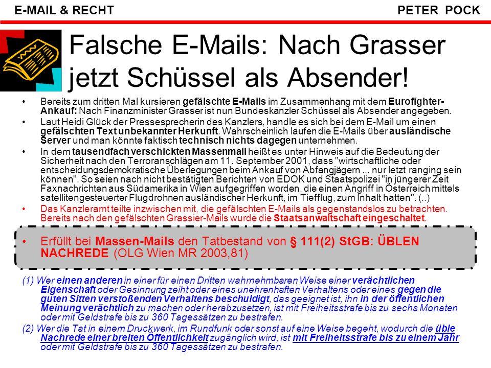 Falsche E-Mails: Nach Grasser jetzt Schüssel als Absender!