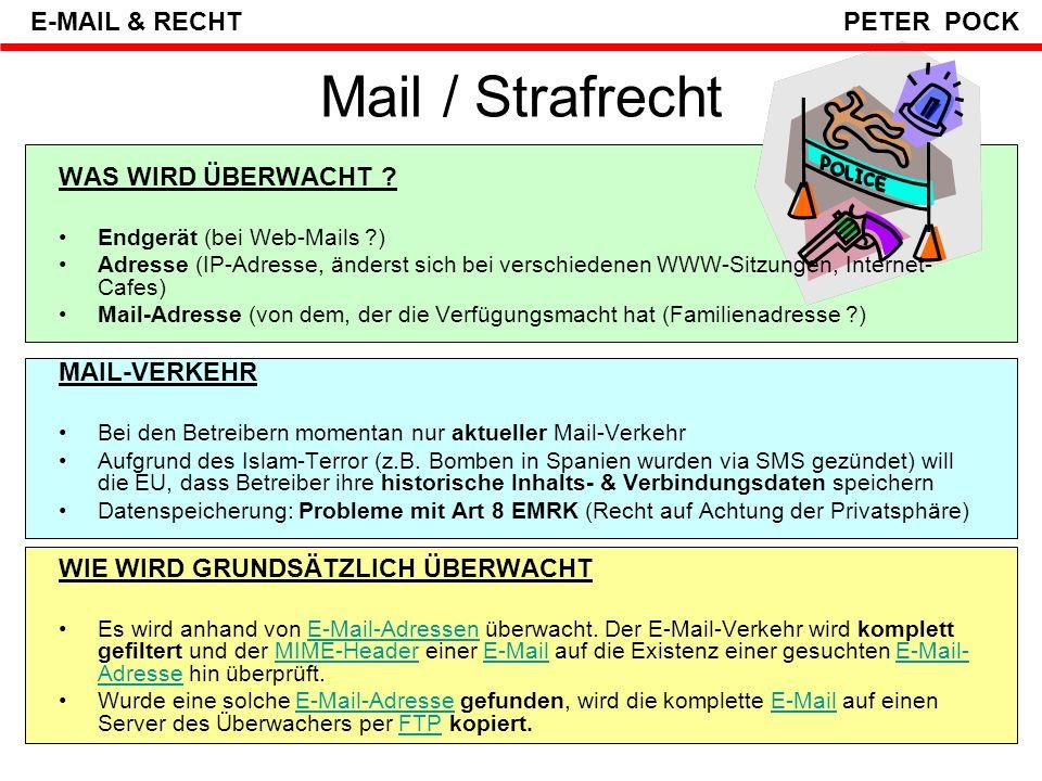 Mail / Strafrecht E-MAIL & RECHT PETER POCK WAS WIRD ÜBERWACHT