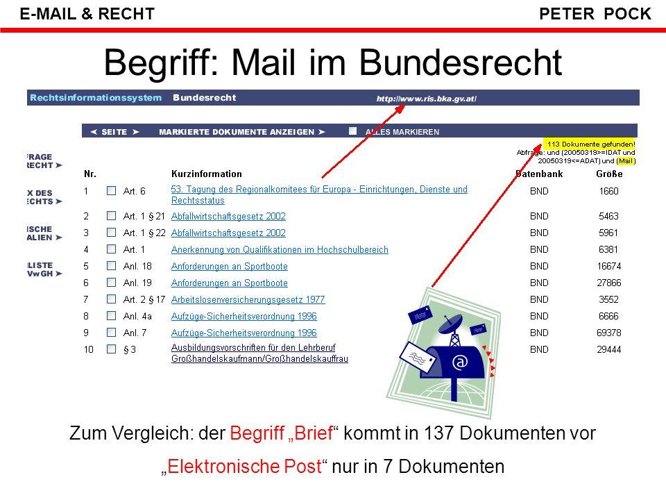 Begriff: Mail im Bundesrecht