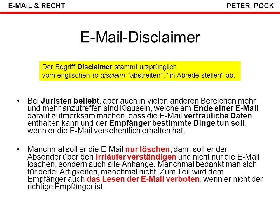 E-MAIL & RECHT PETER POCK