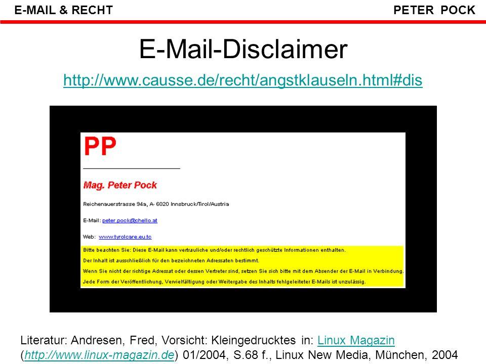 E-Mail-Disclaimer http://www.causse.de/recht/angstklauseln.html#dis