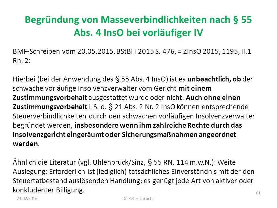 Begründung von Masseverbindlichkeiten nach § 55 Abs