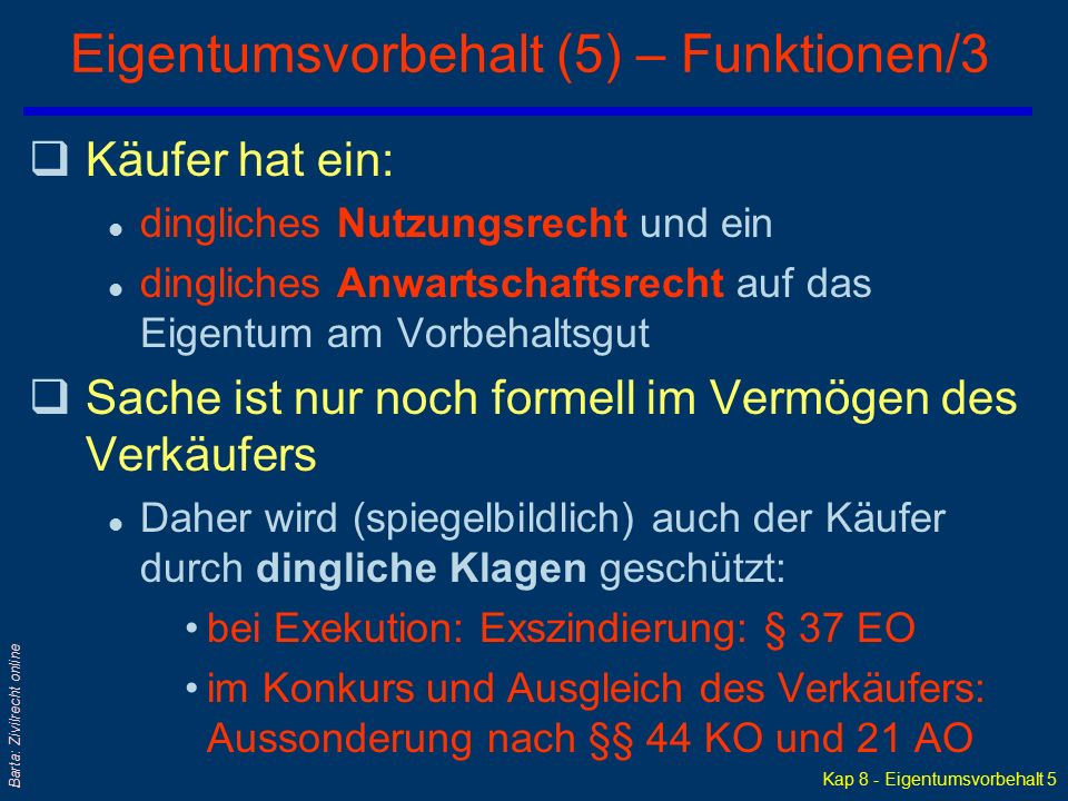 Eigentumsvorbehalt (5) – Funktionen/3