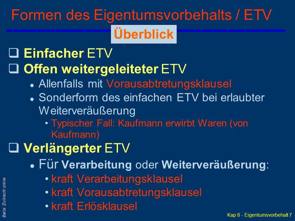 Formen des Eigentumsvorbehalts / ETV