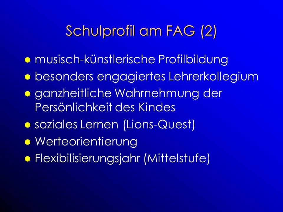 Schulprofil am FAG (2) musisch-künstlerische Profilbildung