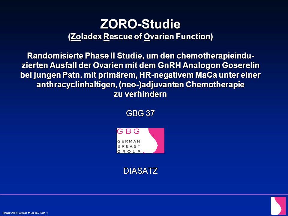 ZORO-Studie (Zoladex Rescue of Ovarien Function) Randomisierte Phase II Studie, um den chemotherapieindu-zierten Ausfall der Ovarien mit dem GnRH Analogon Goserelin bei jungen Patn.