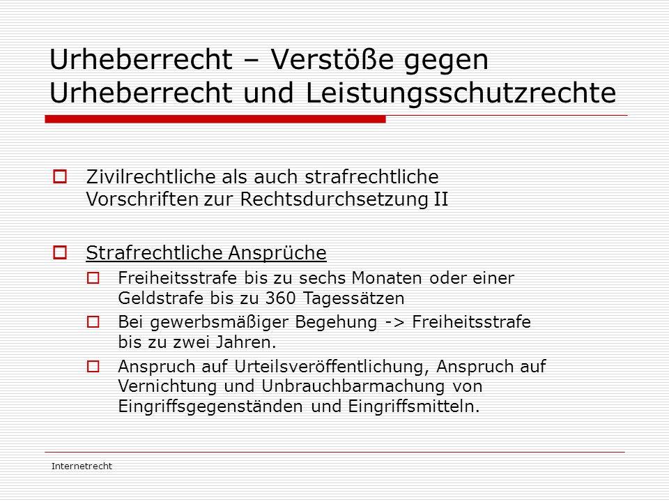 Urheberrecht – Verstöße gegen Urheberrecht und Leistungsschutzrechte