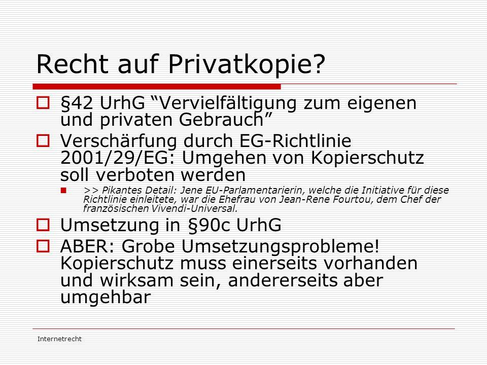 Recht auf Privatkopie §42 UrhG Vervielfältigung zum eigenen und privaten Gebrauch
