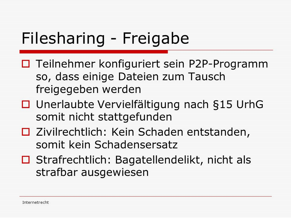 Filesharing - Freigabe