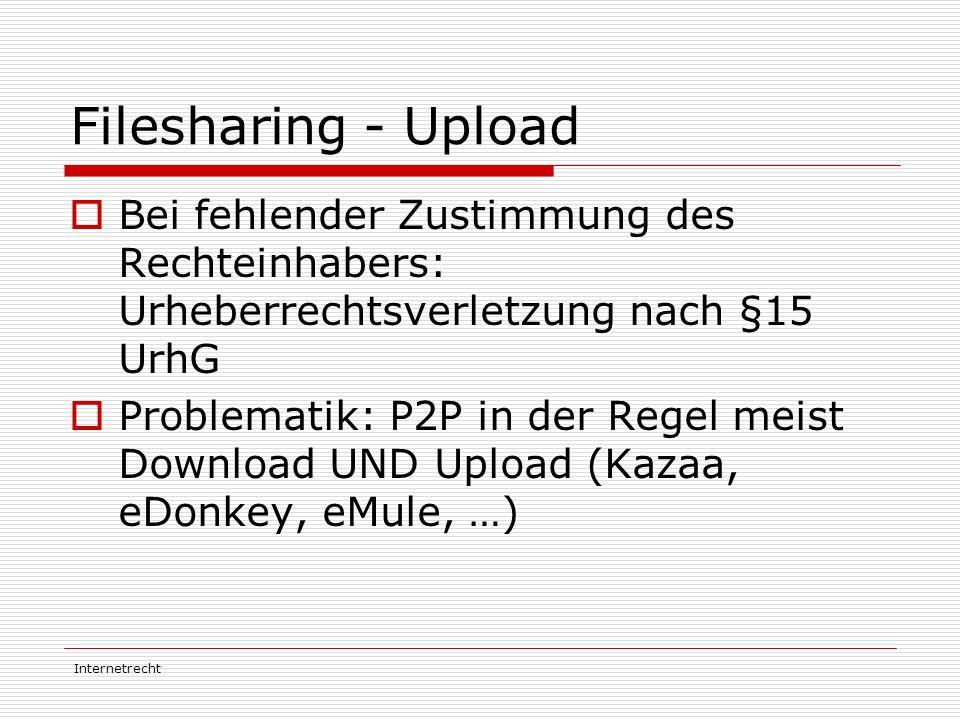 Filesharing - Upload Bei fehlender Zustimmung des Rechteinhabers: Urheberrechtsverletzung nach §15 UrhG.
