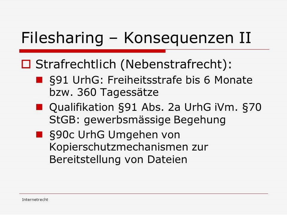 Filesharing – Konsequenzen II