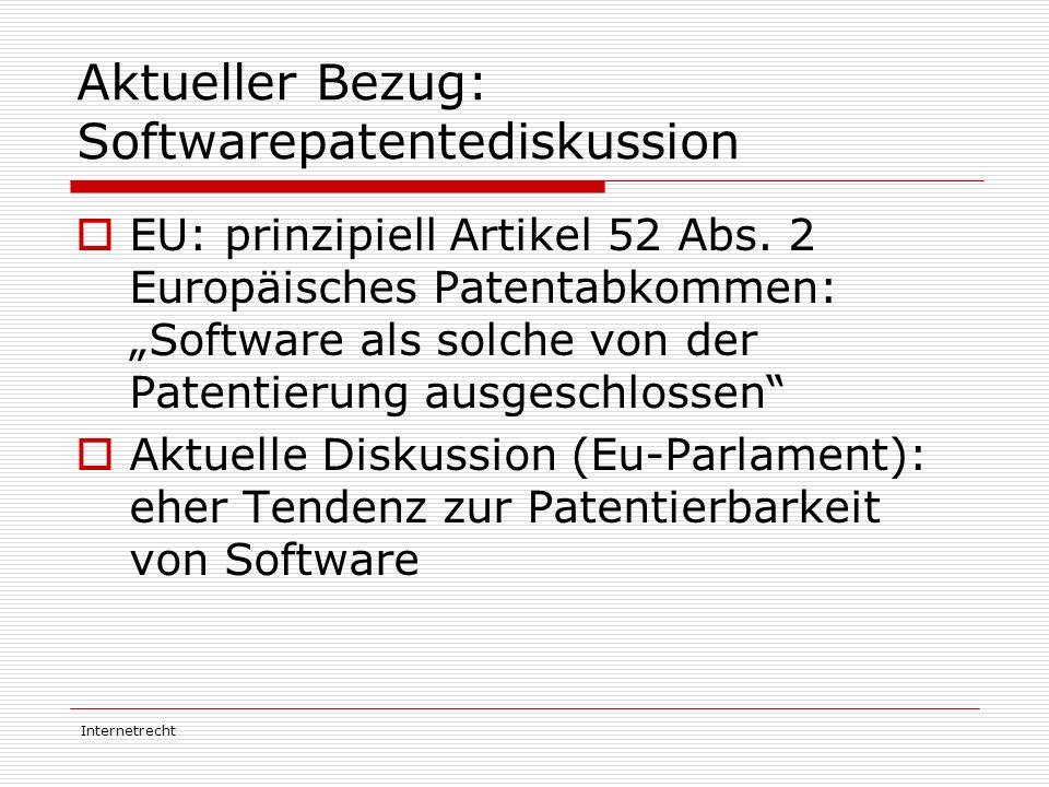 Aktueller Bezug: Softwarepatentediskussion