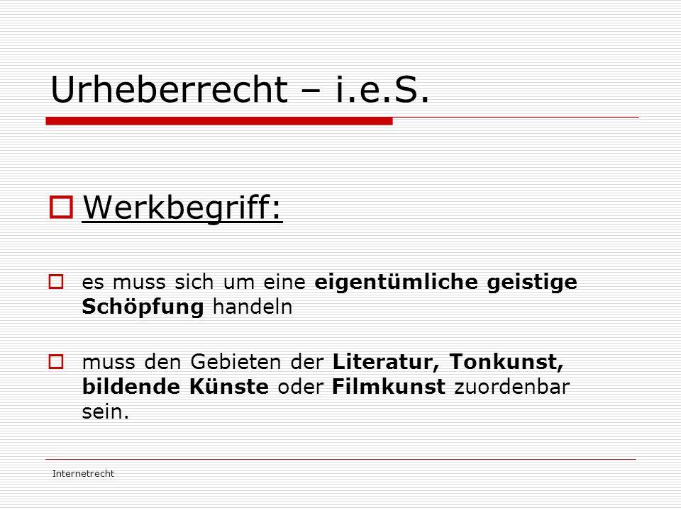 Urheberrecht – i.e.S. Werkbegriff: