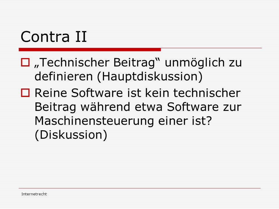 """Contra II """"Technischer Beitrag unmöglich zu definieren (Hauptdiskussion)"""