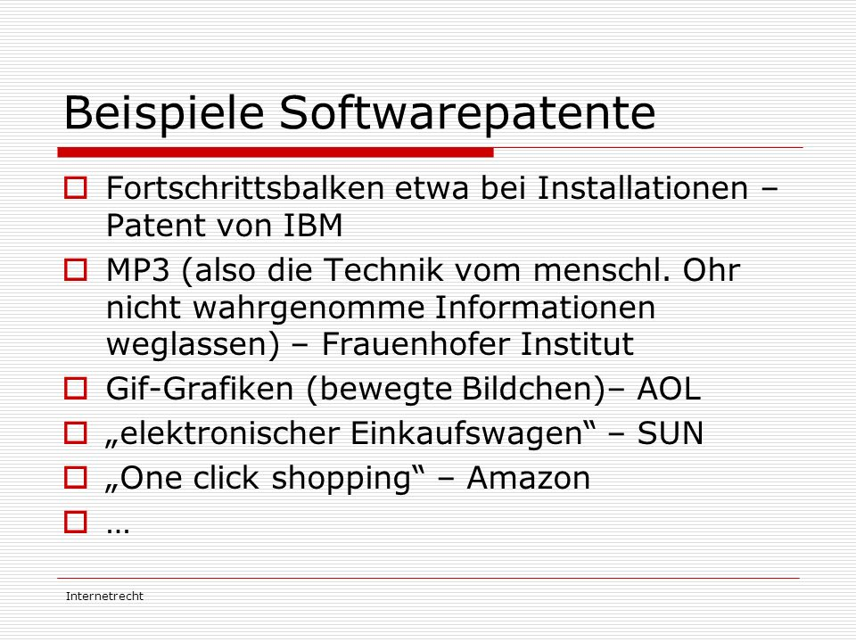 Beispiele Softwarepatente