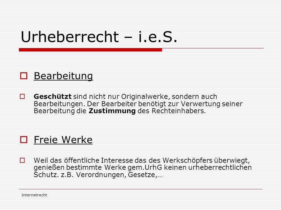 Urheberrecht – i.e.S. Bearbeitung Freie Werke