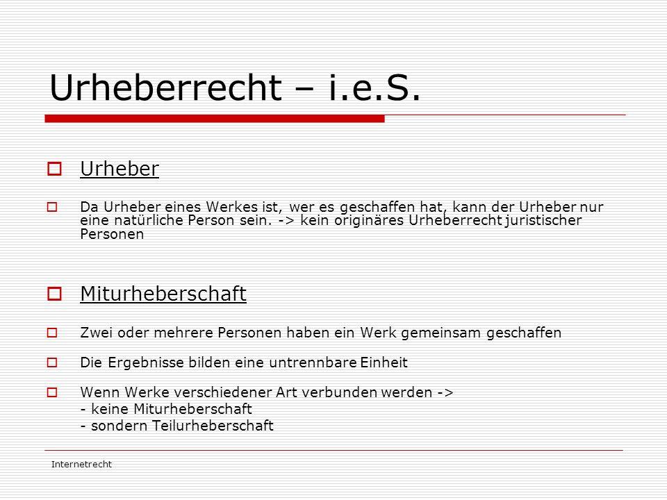 Urheberrecht – i.e.S. Urheber Miturheberschaft