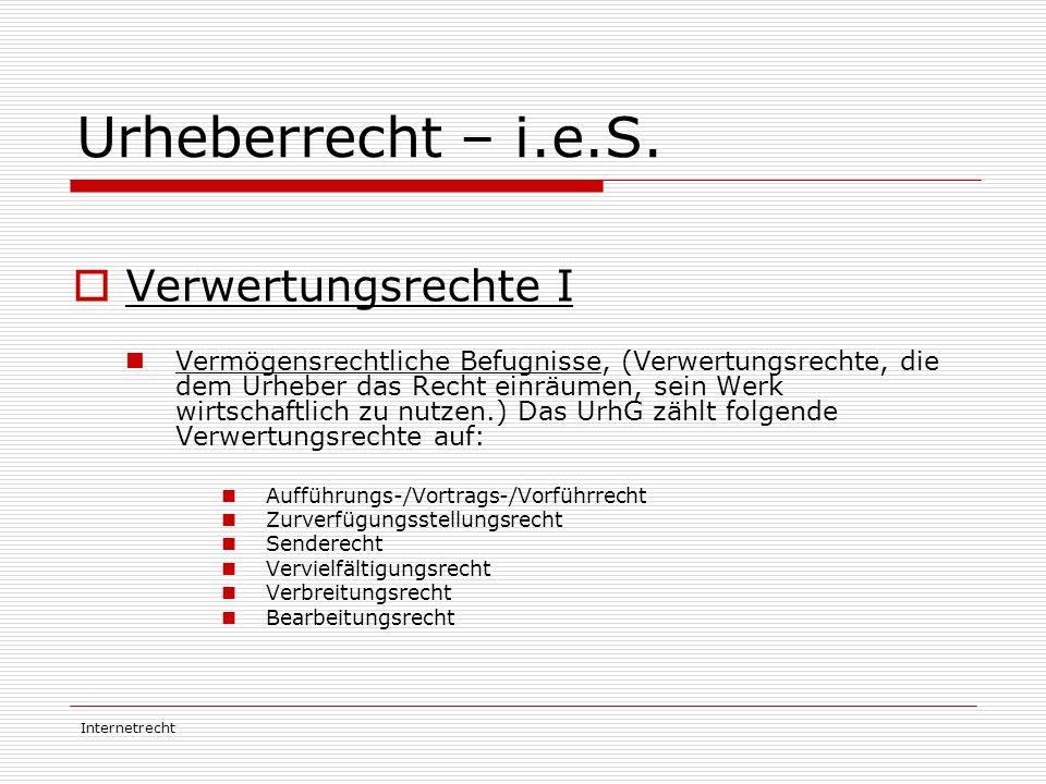 Urheberrecht – i.e.S. Verwertungsrechte I