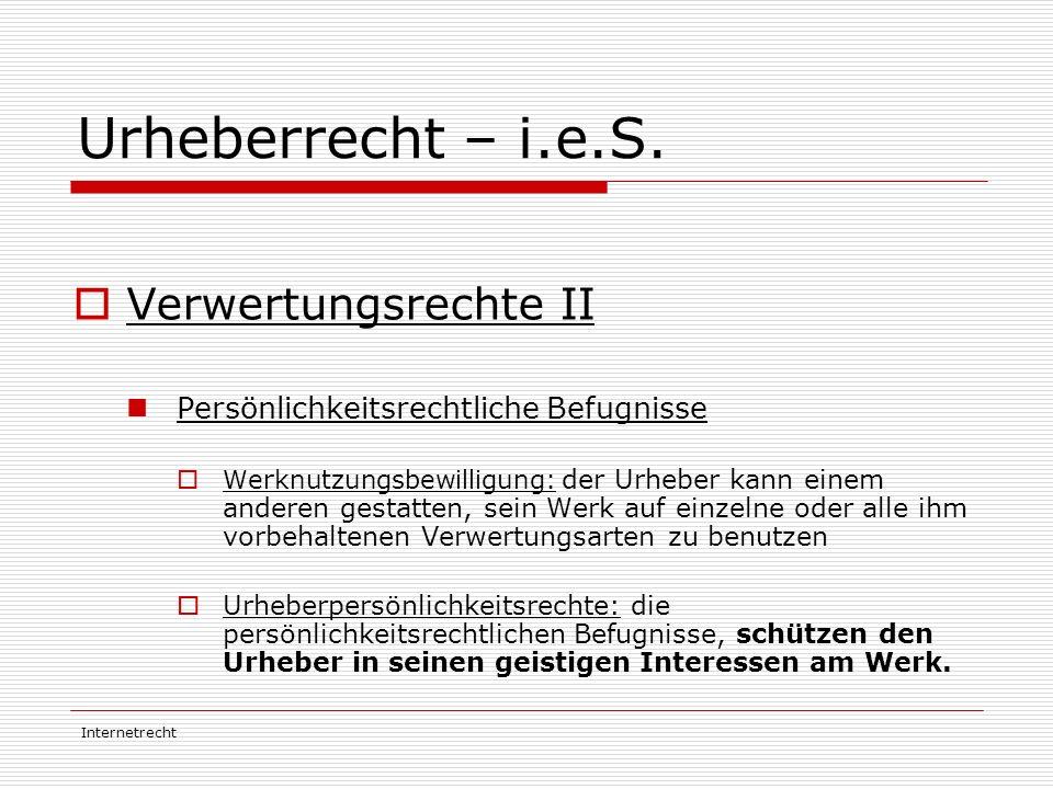 Urheberrecht – i.e.S. Verwertungsrechte II