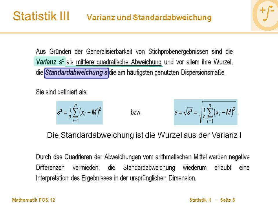 Statistik III Varianz und Standardabweichung