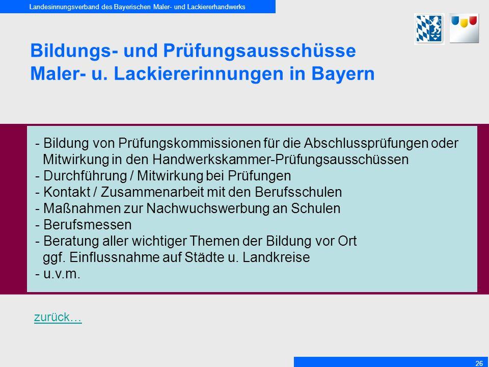 Bildungs- und Prüfungsausschüsse Maler- u. Lackiererinnungen in Bayern