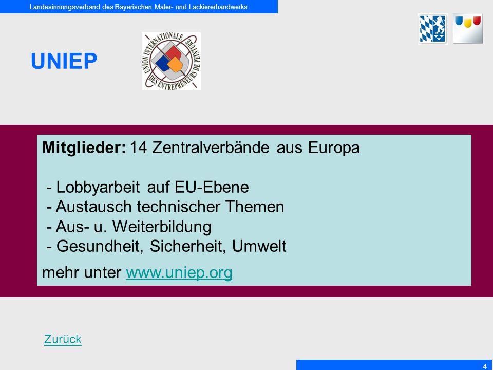UNIEP Mitglieder: 14 Zentralverbände aus Europa