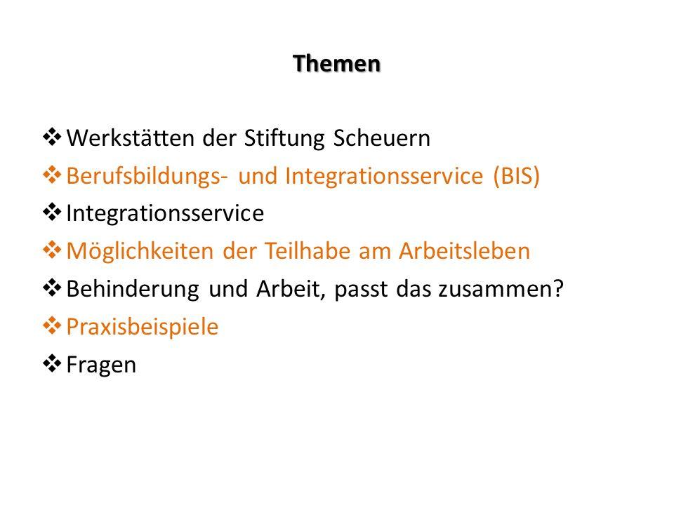 Themen Werkstätten der Stiftung Scheuern. Berufsbildungs- und Integrationsservice (BIS) Integrationsservice.