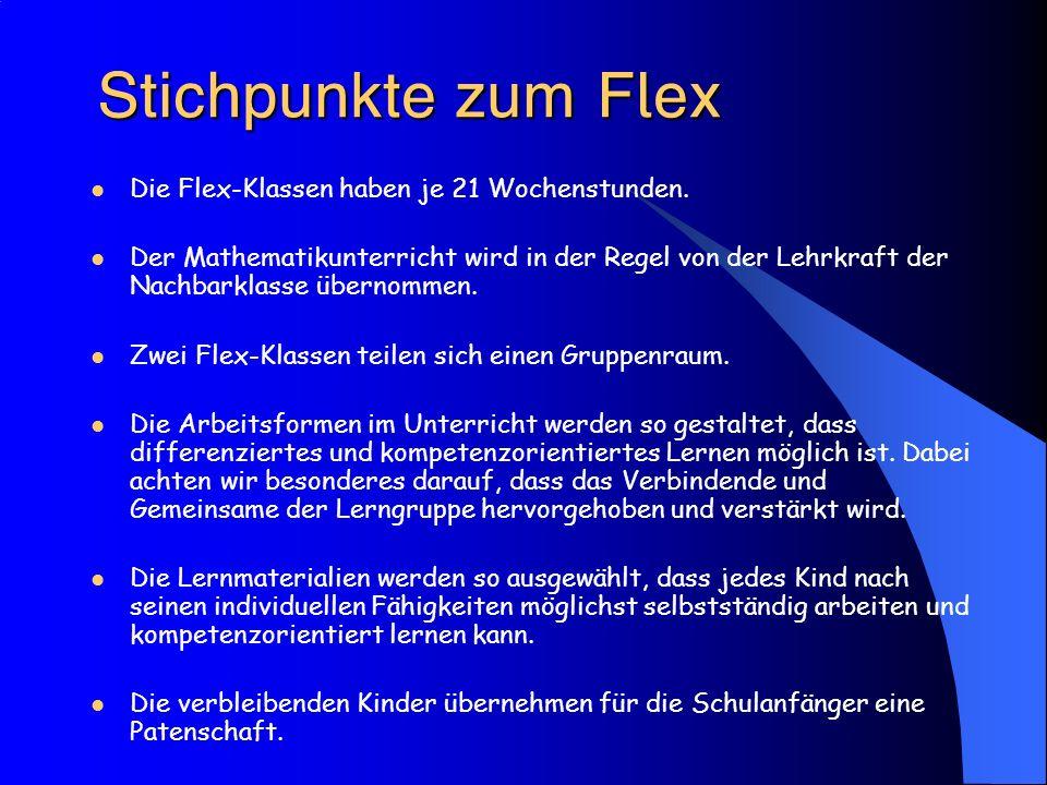 Stichpunkte zum Flex Die Flex-Klassen haben je 21 Wochenstunden.