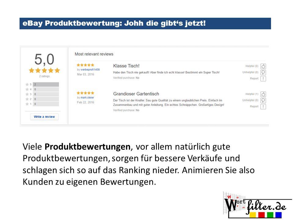 eBay Produktbewertung: Johh die gibt's jetzt!