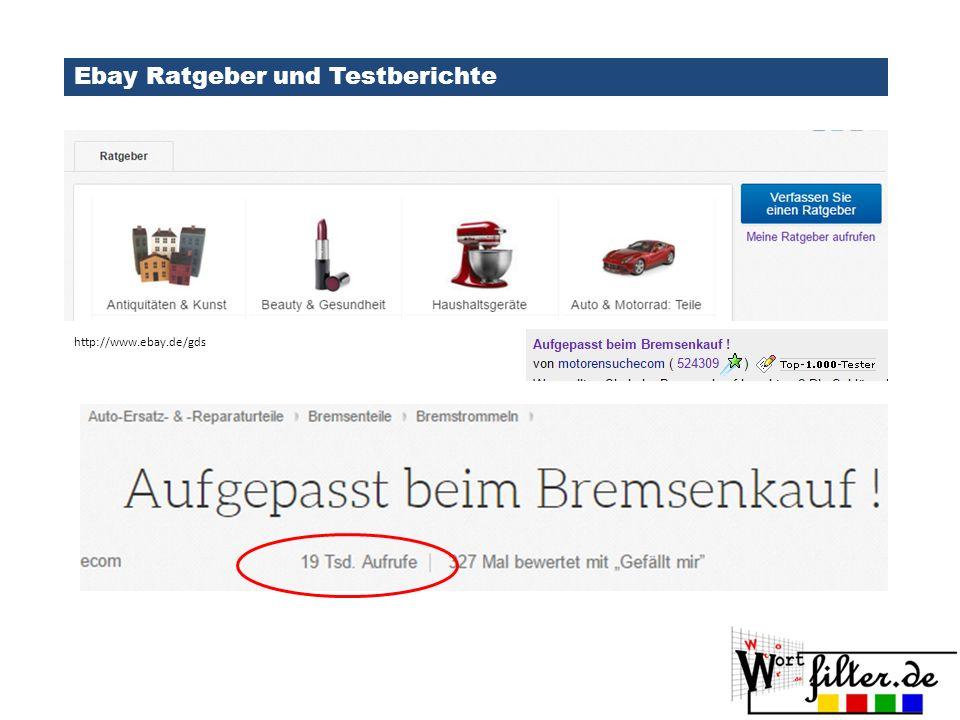 Ebay Ratgeber und Testberichte