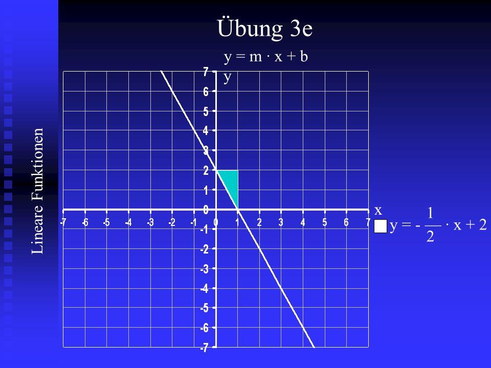 Übung 3e y = m · x + b y x 1 y = - — · x + 2 2